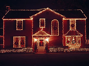 White Christmas Lights on Residential Home