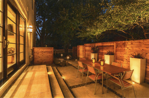 Horizontal Capped Fence in Lakewood with Outdoor Lighting