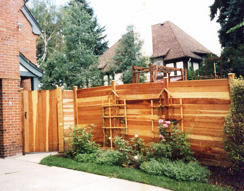 Decorative Cedar Horizontal Fence and Vertical Gate